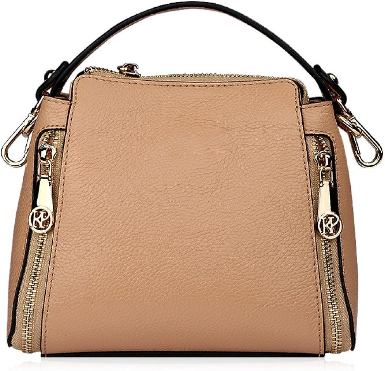 AI BAO Ladies Leather Zipper Decorate Shoulder Bag Detachable Handle Diagonal Bag Tote