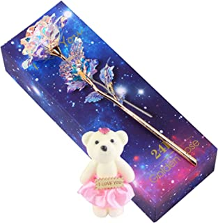Colorful Gold Rose Artificial Flower Rose Gift with Cute Bear, Best Gifts for Lover, Girls, Women, Mom, Girlfriend, Siste...