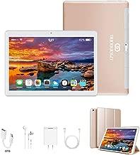 $89 » Tablets 10 Inch, Dual 4G SIM/WiFi, 3GB RAM+32GB ROM/128GB, Android 9.0, 8500 mAh Computer Tablet, Quad-Core Processor, 13MP Dual Camera Tablet PC, OTG, Bluetooth, HD IPS Screen, Google Play (Gold)