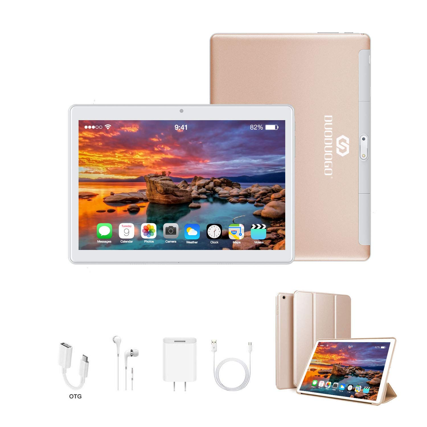 Tablets 10 Inch, Dual 4G SIM/WiFi, 3GB RAM+32GB ROM/128GB, Android 9.0, 8500 mAh Computer Tablet, Quad-Core Processor, 13MP Dual Camera Tablet PC, OTG, Bluetooth, HD IPS Screen, Google Play (Gold)