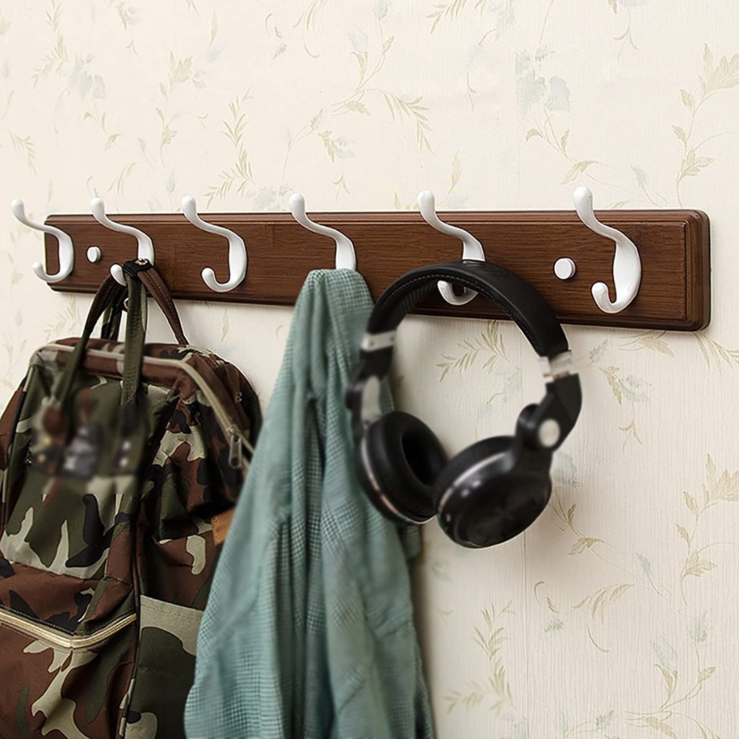 LXLA- Shelf Hangers Coat Rack Hook Up Double Wood Bamboo Wall-mounted White,Brown,Black (Available 3,4,5,6,Hooks,35.5 48.2 61 73.8  7.8  8 cm) ( color   Vintage color , Size   6 hooks )
