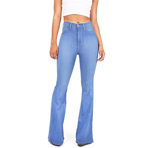 edb5d339621fb Vibrant Women s Juniors Bell Bottom High Waist Fitted Denim Jeans