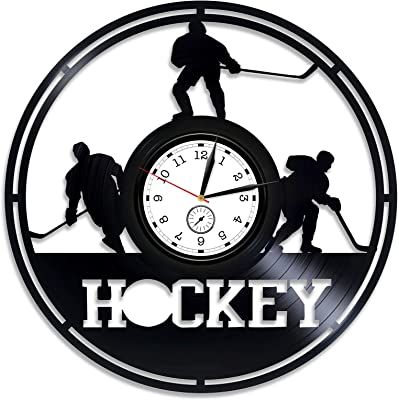 Kovides Ice Hockey Wall Clock Modern Hockey Vinyl Clock Hockey Team Gift Hockey Vinyl Wall Clock