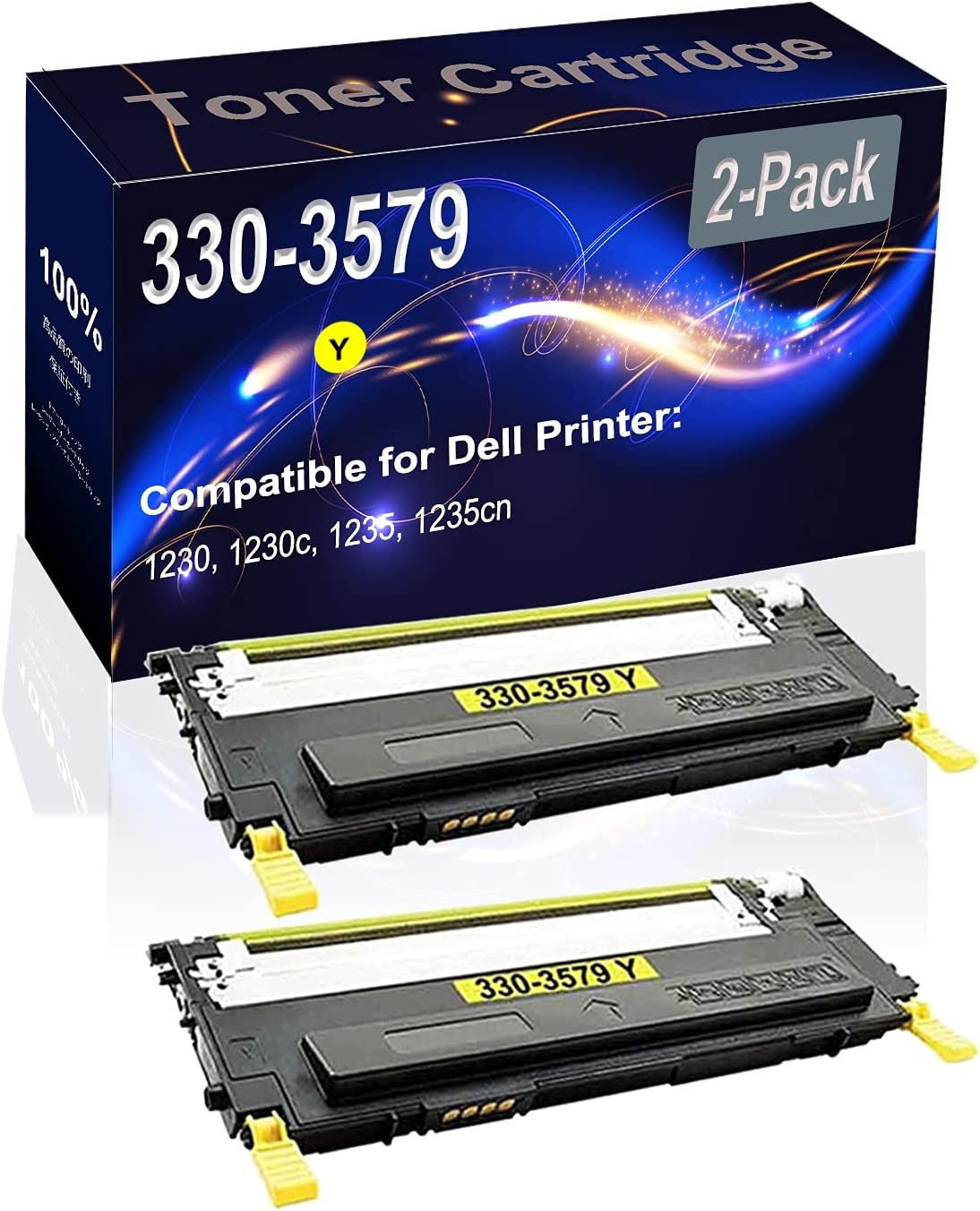 2-Pack (Yellow) Compatible 1230 1230c 1235cn Laser Printer Toner Cartridge (High Capacity) Replacement for Dell 330-3579 Printer Toner Cartridge