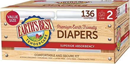 Earth's Best TenderCare Chlorine-Free Disposable Baby Diapers, Size 2 (12-18 lbs), 136 Count