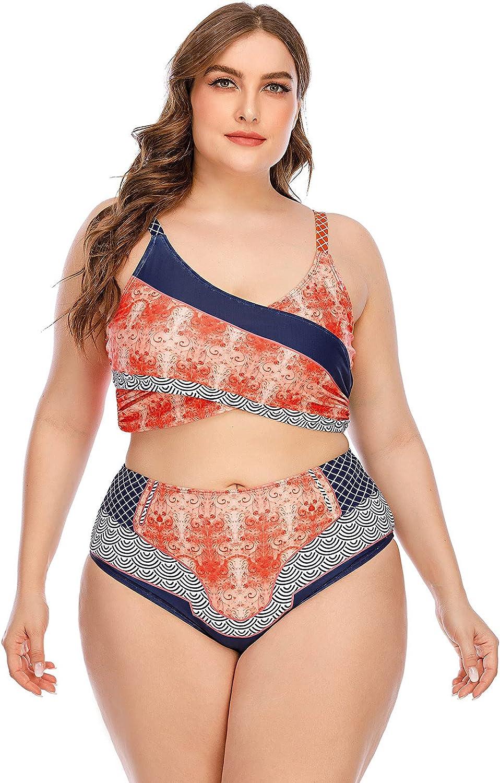 ameIAEA Women Plus Size Backless Printing Two Piece Bikini Split Swimsuit High Waist Beachwear Swimwear Bathing Suit