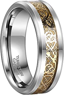 6mm 8mm Celtic Tungsten Rings for Men Women Dragon Design Tungsten Carbide Wedding Band Comfort Fit Size 4-13