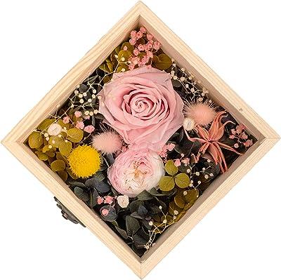 プリザーブドフラワー 本物の花でできており 色あせず 木製のパッケージで 花は固定され 振られません クリスマス 誕生日プレゼント 記念プレゼント 新年のプレゼント、バレンタインデーのプレゼントなどとして使用できます (ピンク)