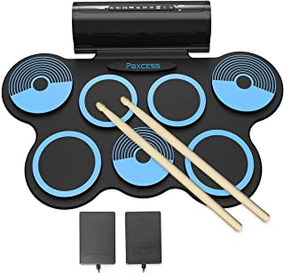PAXCESS Electronic Drum Set 7 Pads Roll-up Practice Electric Drum for Kids with Headphones Jack, Built-in Speakers Drum Set Best Birthday Gift for Kids (Blue)