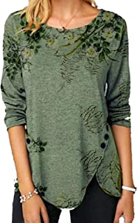 Long Sleeves Pullover for Women, Crewneck Floral Printed Blouses Tunics Tops Shirts Tee with Button Down Split Hem Chic Bl...