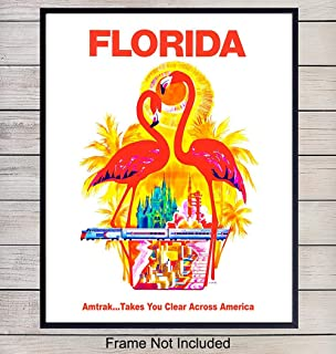 Florida Vintage Travel Poster Art Print, Wall Art Poster - Unique Home Decor for Beach House, Living Room, Kitchen, Office, Bedroom, Bathroom - Great Tropical Gift for Flamingo Lovers - 8x10 Photo