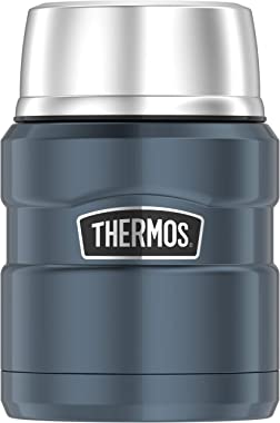 THERMOS Stainless King Vacuum-Insulated Food Jar with Spoon, 16 Ounce, Slate