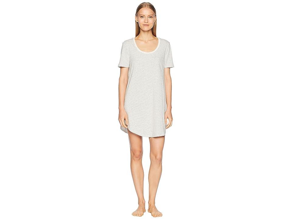 Skin Natural Skin 34 Marilyn Sleep Shirt (Heather Grey/Pearl Pink Stripe) Women