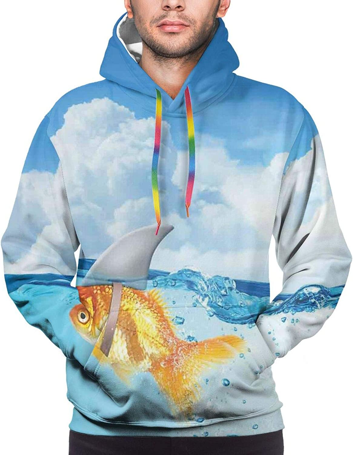 Men's Hoodies Sweatshirts,Cute Goldfish with Shark Fin On Top of The Water Fake Comic Nature Image