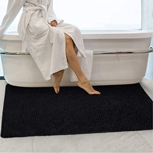 2021 Secura Housewares Soft Microfiber Bathroom outlet sale Rugs, 47 x 28 Inches Non Slip Bath Mat for Door, Bathroom & Kitchen with Water Absorbent, Machine Washable outlet sale (Black) outlet online sale