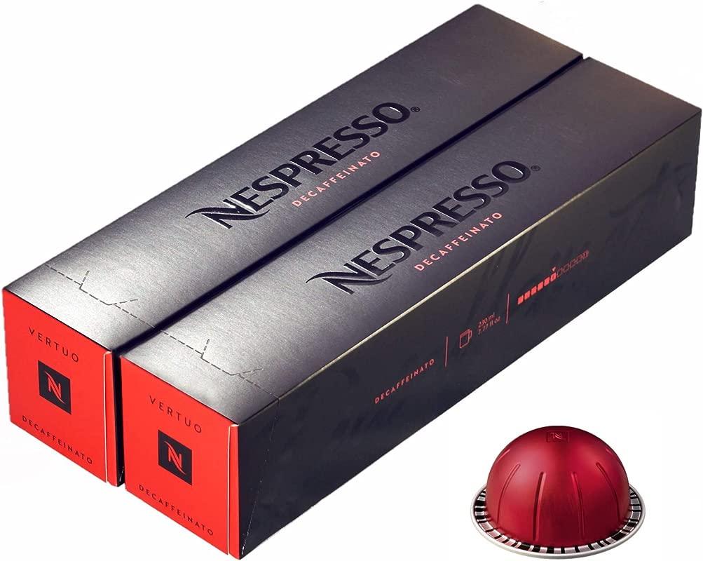 Nespresso VertuoLine KmMhu Decaffeinato Coffee 10 Count 2 Pack