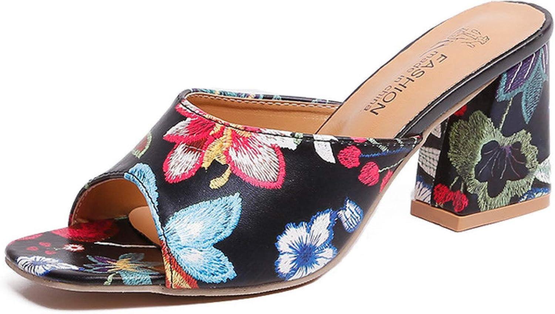 Women's Peep Toe Mules Chunky High Heels Slide Sandals Floral Print Slip On Summer Dress Pumps