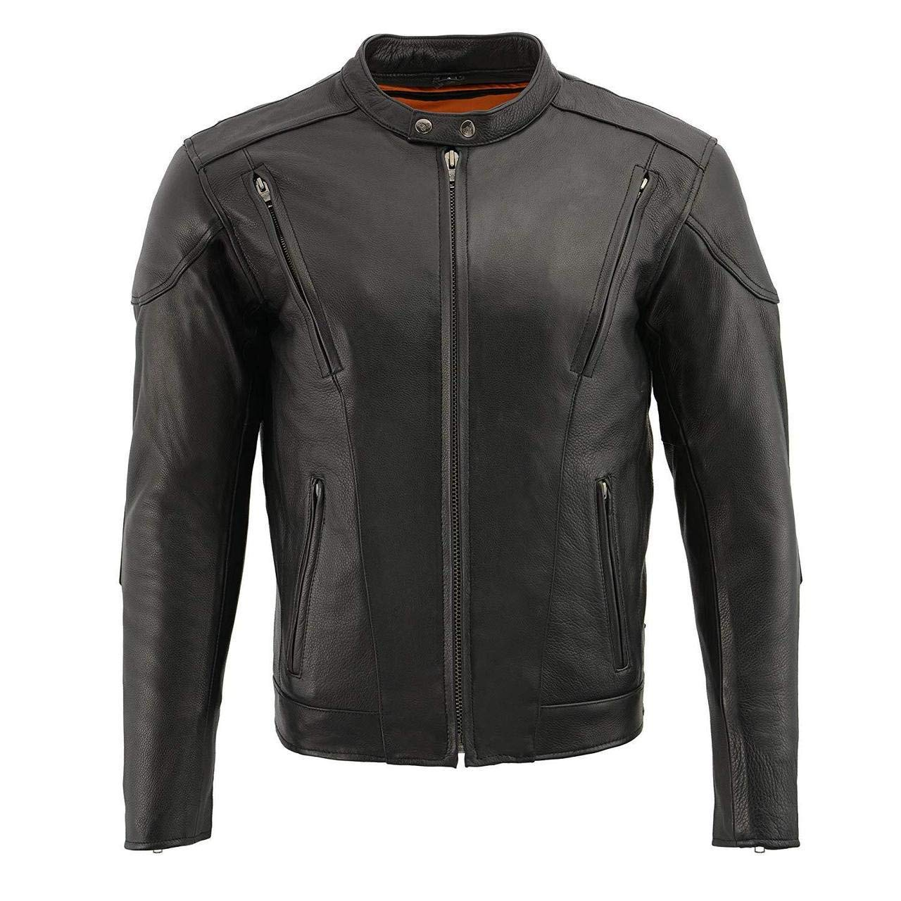 3XL Regular Dealer Leather MENS RIDING REFLECTIVE SKULLS CROSSOVER LEATHER JACKET VENTED THICK LEATHER NEW