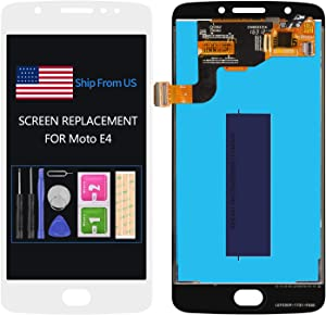 Screen Replacement for Motorola Moto E4 XT1765 XT1766 LCD Display Screen Matrix Touch Digitizer Assembly with Frame Repair Parts Free Tools Kits NO Home Button (White no Frame)