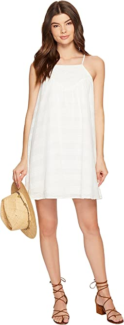 Neilan Textured Cotton Dress with Cotton Eyelet Yoke