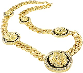 14k Yellow Gold-Plated Iced Five Headed Lion Pendant 15mm Cuban Link Necklace Chain