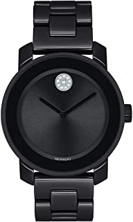 Women's Bold Ceramic Watch with a Crystal-Set Dot, Black/Silver (Model: 3600535)