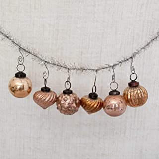 6 Christmas Bronze & Gold Glass Mercury Vintage Looking Ornaments - 2