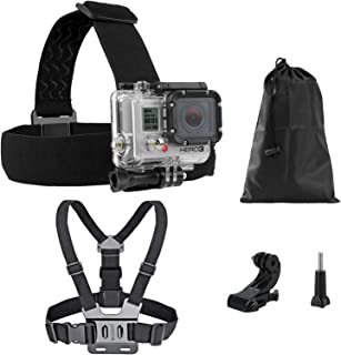 Voilamart Chest Mount Harness Head Helmet Strap for Gopro Hero Fully Adjustable Chest Strap - Also Includes J-Hook / Thumb...