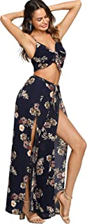 Women's 2 Pieces Boho Strappy Front Floral Cami Top and Palazzo Pants Set