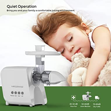 Juicer, MegaWise 2 Speeds Modes Slow Masticating Juicer Machine, Cold Press Juicer Extractor Easy to Clean with Brush & H