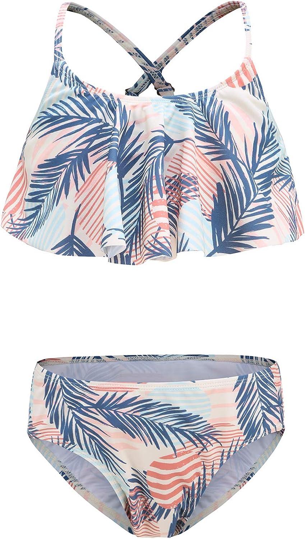 Girls Two Piece Swimsuits Bikini Bathing Suit Hawaiian Ruffle Swimwear Set for Kids 3-16 Years