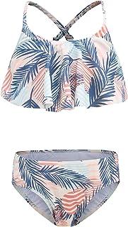 Girls Two Piece Swimsuits Bikini Bathing Suit Hawaiian Ruffle Floral Swimwear for Kids 3-16 Years
