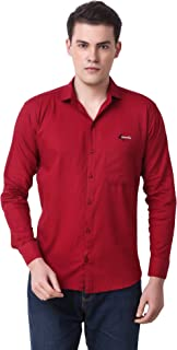 Cavenders Men's Cotton Solid Maroon Slim Fit Shirt
