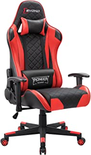 Devoko Racing Style Gaming Chair Height Adjustable Swivel PC Computer Chair with Headrest and Lumbar Massage Support Leather Reclining Executive Office Chair (Red)