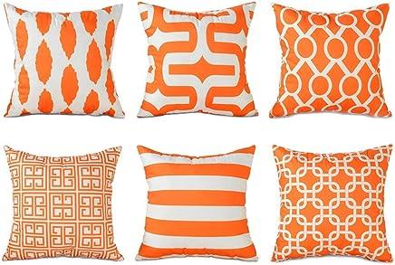 Topfinel Square Decorative Throw Pillow Cases Soft Microfiber Outdoor Cushion Covers 18 X 18 for Sofa Bedroom, 45 x 45cm, Set of 6, Orange