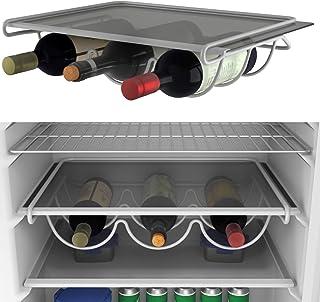 SoundZero 2pcs portabottiglie in plastica Stile Europeo Ideale per Cucina Frigorifero Portabottiglie da Tavolo per Frigorifero 4 Ripiani portavino impilabili per 10 Bottiglie Bianca+Grigio Scuro