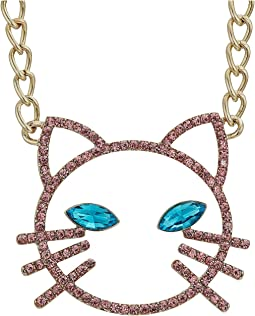 Pink Stone Open Cat Face Pendant Necklace
