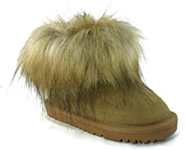 CooL BeanS Girls Winter Snow Boots Warm Sheep Fur, Genuine Leather (Baby/Toddler/Little Kids)