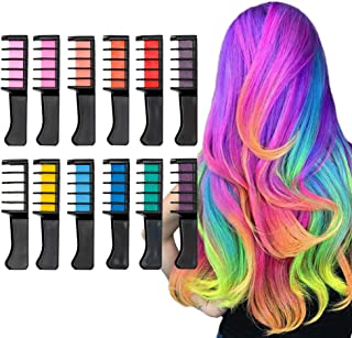 Qivange Hair Chalk for Girls Kids Toys Children`s Day Gift, 12 Colors Temporary Bright Hair Color Dye for Kids, Vibrant Washable Hair Chalk Comb for Teend Adult DIY Birthday Party Cosplay Makeup