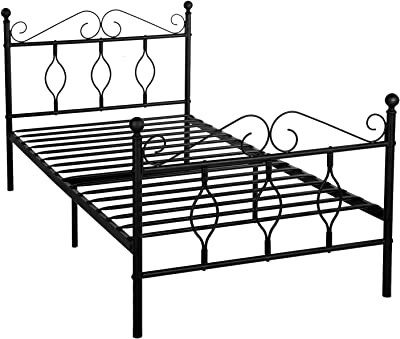 GreenForest Twin Bed Frame Metal Platform Complete Bed with Vintage Headboard and Footboard Box Spring Replacement Steel Slats Bed, Matte Black Twin