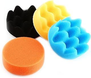 "Cuque Polishing Wax Pad 50 Pcs 3"" Car Polishing Machine Buffered Sponge Kit Auto Disc Waxing Disc Kit Tool Orange Black Blue White Yellow"