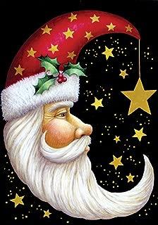 Toland Home Garden Santa Moon 12.5 x 18 Inch Decorative Winter Christmas Holiday Celestial Star Garden Flag