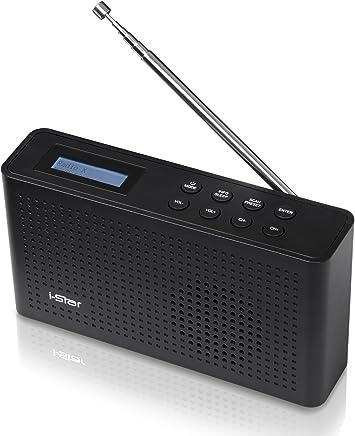 Radio Digital y FM Dab & Dab+ de i-Star  Radio Personal portátil y Recargable con Sistema de Sonido de Altavoz estéreo   Carga USB con batería   Radio de Cocina Retro (Negro)