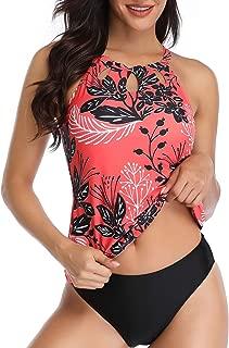 Yonique Womens 2 Piece Tankini Swimsuit Halter Floral Bathing Suit High Neck Keyhole Swimwear