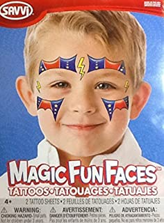 Temporary Tattoos ~ Superhero Magic Fun Faces ~ 2 Sheets