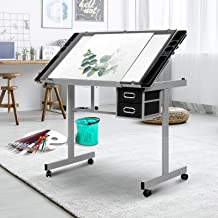 Artiss Tilted Tempered Glass Drawing Table