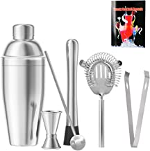 Cocktail Shaker Set of 6 Barware Kit, 18 oz Stainless Steel Martini Shaker with Built-in Strainer, Muddler, Double Jigger,...