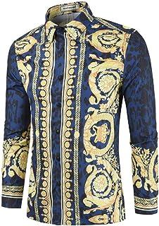 Yffksse Versaces Hombres Casual Leopardo Impreso Camisetas Manga Larga Miedoso Ajustado Algodón Camisa Moda Tops Único Modelo,A,XXL
