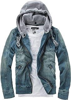 WSPLYSPJY Men's Removable Hood Single Breasted Long Sleeves Denim Hoodies Jacket