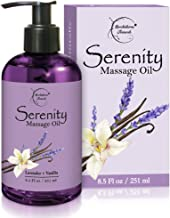 Serenity Massage Oil with Lavender & Vanilla Essential Oils – All Natural for Relaxation, Stress Relief & Sore Muscles. Gr...